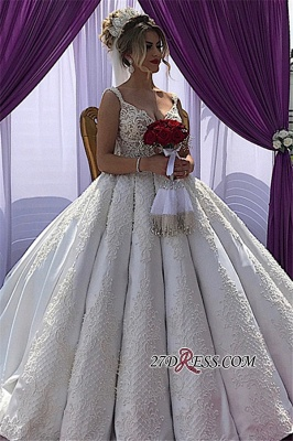 Straps A-line Sleeveless Appliques V-neck Fascinating Wedding Dresses_4