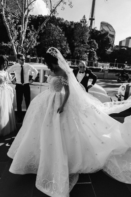 Glamorous Off-the-Shoulder Wedding Dress Appliques Sweep Train Ball Gowns_2