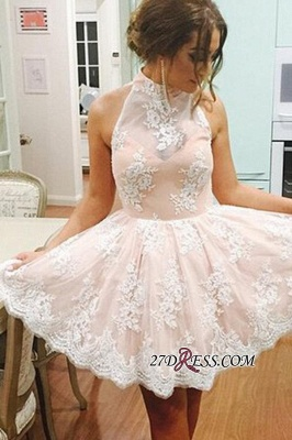 Lace Lovely High-Neck Short Sleeveless Homecoming Dress BA3646_2