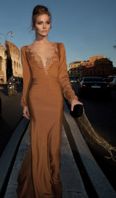 Elegant Sexy V Neck Vintage Prom Dresses 2020 Bead Chiffon Formal Evening Gowns With Long Sleeve_1