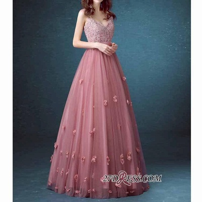 Beaded Long Lace Sleeveless A-line Floral-Appliques Prom Dresses_3