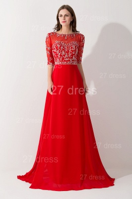Glamorous Red Half Sleeve Evening Dress Chiffon Beadings_1
