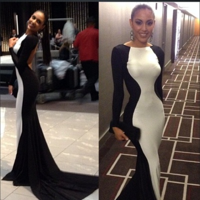 New Sexy White and Black Prom gown 2020 Long Sleeves Womens Evening Party dresses_2