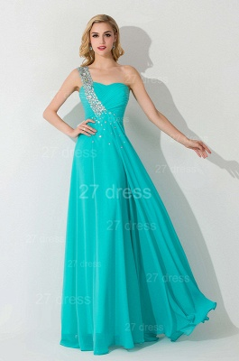 Modern One Shoulder Chiffon Evening Dress A-line Crystals Lace-up_4