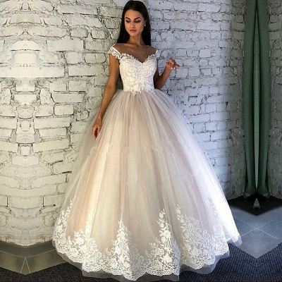 Gorgeous Crew Cap Sleeves Wedding Dress | Tulle Lace Bridal Gowns On Sale_2
