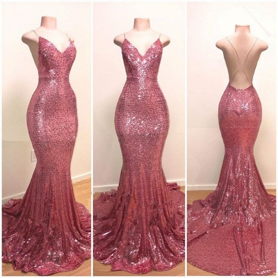 Stunning Pink Sequins Prom Dresses | 2020 Mermaid Long Evening Gowns_2