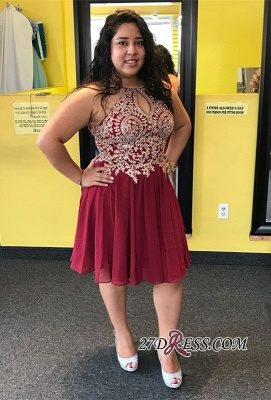 Plus size homecoming dress, lace burgundy prom dress_2