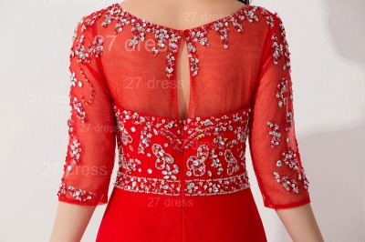 Glamorous Red Half Sleeve Evening Dress Chiffon Beadings_4