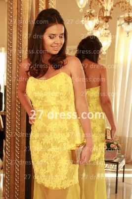 Applique Long Lace Prom Dresses 2020 with Vestidos De Fiesta Yellow Gowns for Evenings Sweetheart Mermaid Prom_2