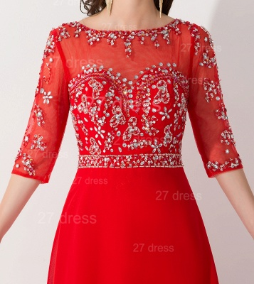 Glamorous Red Half Sleeve Evening Dress Chiffon Beadings_5