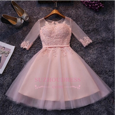 Appliques Short Half-Sleeves Tulle Pink Homecoming Dresses_1