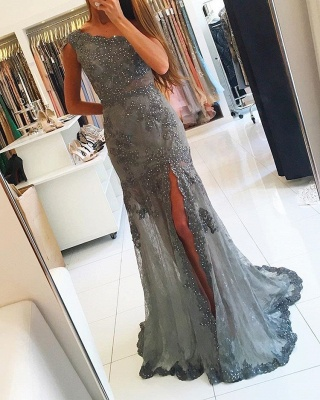 sexy One-Shoulder Empire Evening Gowns on Sale | Beadings Prom Dress 2020 With Split_1