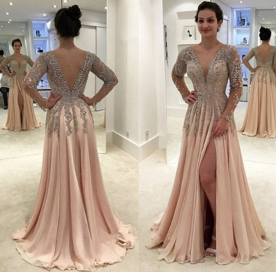 Newest Long Sleeve Lace Prom Dress | Front Split Prom Dress BA8951_2