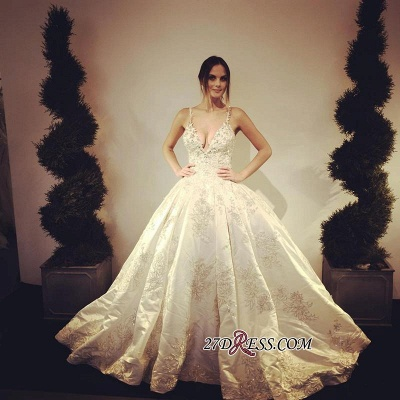 Ball-Gown Stunning Floor-Length Appliques V-Neck Lace Wedding Dress_1