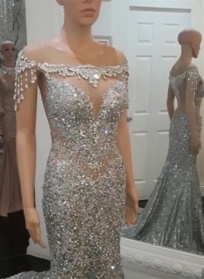 Gorgeous Crew Short Sleeves Prom Dress | Mermaid Crystal Beaded 2020 Evening Gowns BC1060_8
