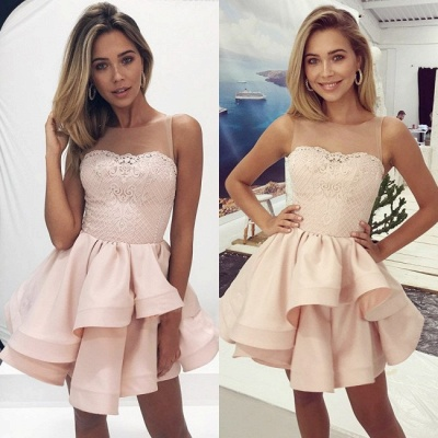 Lovely Sleeveless 2020 Homecoming Dresses | Pink Lace Layers Short Party Dress_4