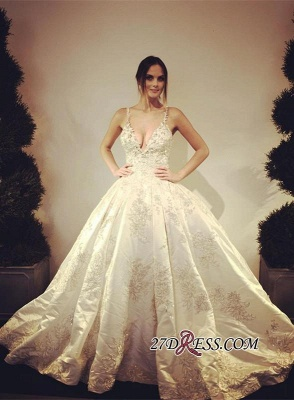 Ball-Gown Stunning Floor-Length Appliques V-Neck Lace Wedding Dress_2