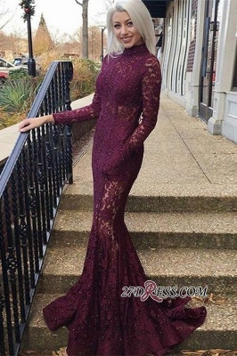 Elegant Long Sleeves High Neck Lace Formal Dresses | Cheap Appliques Backless Mermaid Prom Dresses_2