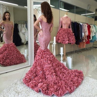Glamorous Off-the-shoulder Lace Prom Dresses 2020 Mermaid Ruffles Party Gowns_3