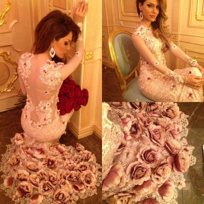 Beautiful Long Sleeve Pink Prom Dress 2020 Lace Appliques Flowers Bottom_3