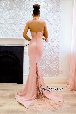 Halter Elegant Lace Mermaid Applique Sweep Train Prom Dress BA7727_2