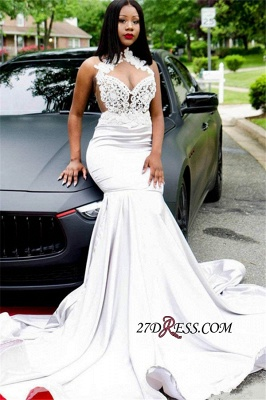 Gorgeous Halter Mermaid Lace Prom Dresses | 2020 Sleeveless Long Party Dresses BK0 BC1205_1