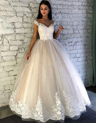 Gorgeous Crew Cap Sleeves Wedding Dress | Tulle Lace Bridal Gowns On Sale_1