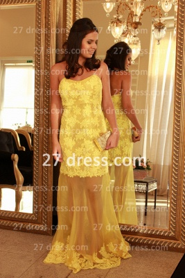 Applique Long Lace Prom Dresses 2020 with Vestidos De Fiesta Yellow Gowns for Evenings Sweetheart Mermaid Prom_4