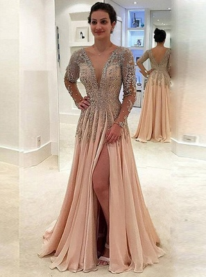 Newest Long Sleeve Lace Prom Dress | Front Split Prom Dress BA8951_1