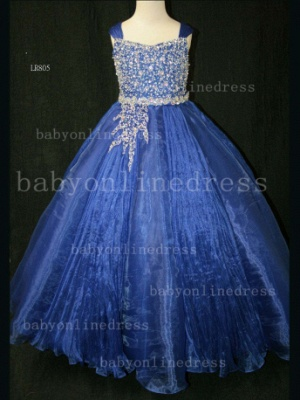 Flower Beaded Ball Gown Dresses for Girls Wholesale Beautiful Junior Pageant Organza Gowns for Sale_6