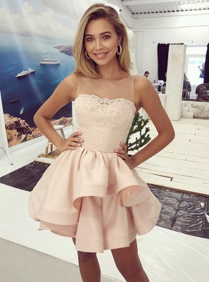 Lovely Sleeveless 2020 Homecoming Dresses | Pink Lace Layers Short Party Dress_2