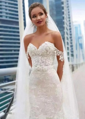 Glamorous Off-the-Shoulder 2020 Wedding Dress Sweetheart With Lace Mermaid Bridal Gowns_4