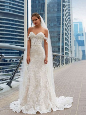 Glamorous Off-the-Shoulder 2020 Wedding Dress Sweetheart With Lace Mermaid Bridal Gowns_1