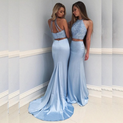 Elegant Halter Two Piece Prom Dress 2020 Mermaid Long With Crystals BA7677_3