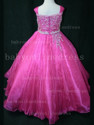 Flower Beaded Ball Gown Dresses for Girls Wholesale Beautiful Junior Pageant Organza Gowns for Sale_5