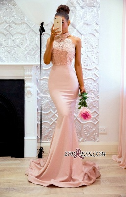 Halter Elegant Lace Mermaid Applique Sweep Train Prom Dress BA7727_1