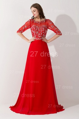 Glamorous Red Half Sleeve Evening Dress Chiffon Beadings_2