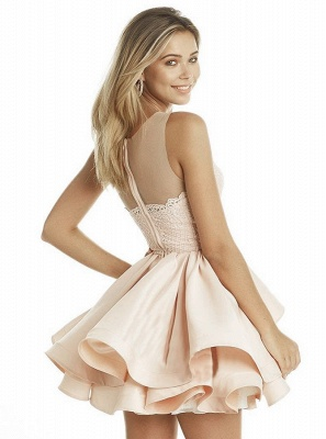 Lovely Sleeveless 2020 Homecoming Dresses | Pink Lace Layers Short Party Dress_3