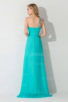 Modern One Shoulder Chiffon Evening Dress A-line Crystals Lace-up_3
