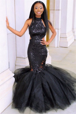 Black Halter Sleeveless Tulle Evening Gown | Sexy Applique Mermaid Prom Dress_4