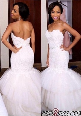 Tiered Tulle Sweetheart Appliques Newest Crystal Mermaid Wedding Dress_2