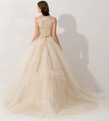 Newest Illusion Princess Tulle Evening Dress Lace Ruffles_3