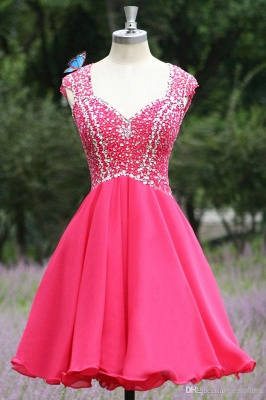 Modern V-neck Cap Sleeve Chiffon Homecoming Dress With Crystals_1