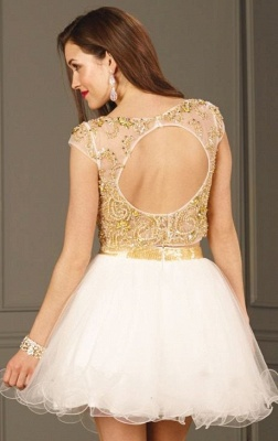 Elegant Crystals Two Piece Homecoming Dress Mini Cap Sleeve_3