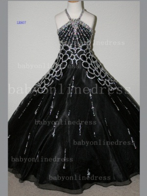 Halter Girls Dresses on Sale Discounted Pageant Beaded Crystal Organza Gowns Stores_3