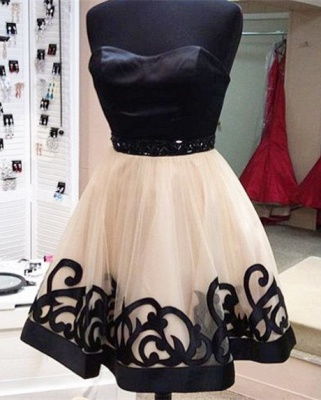 Elegant Sweetheart Short Tulle Homecoming Dress With Beadings_2
