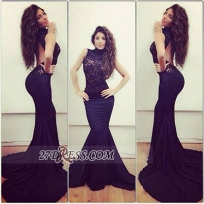 Modern Sleeveless Mermaid Black Prom Dress Open Back High Neck With Lace_1