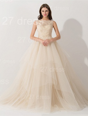 Newest Illusion Princess Tulle Evening Dress Lace Ruffles_1