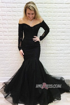 Black Off-the-shoulder Sweep Train Mermaid Brilliant Long-Sleeves Evening Dresses_1
