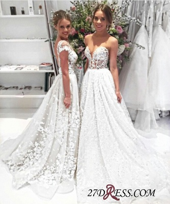 Cap-Sleeves Lace Illusion Overskirt Appliques Popular Open-Back Wedding Dress_2